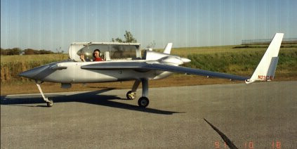 One of many, many taxi tests before 1st flight, Harrison Ark. 1991<br /> Note No wing pods!! or wheel pants.