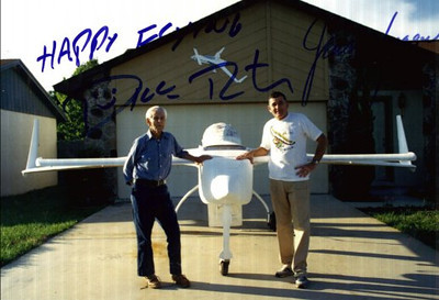 My Dad and me with nose gear extended.<br /> This photo autographed by Dick Rutan and Jenna Yeager!!