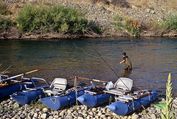 David casts to the far side, Yuba River