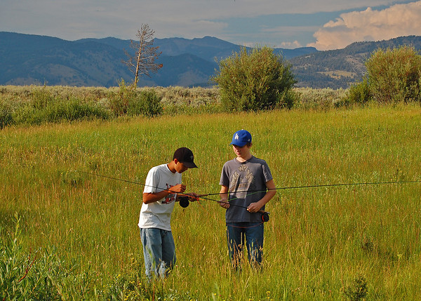 David and Miles, Blacktail Deer Creek, Yellowstone