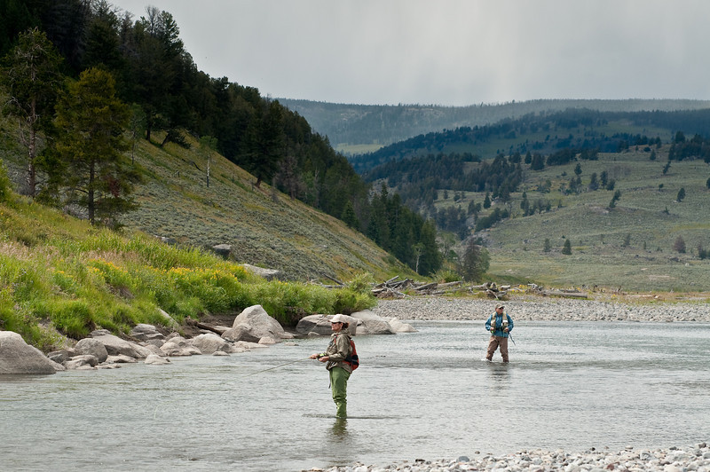 Sarah and Don fishing a productive pool on the Lamar River in Yellowstone