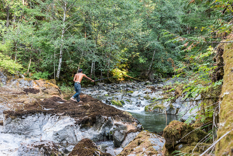 David fishing Tenkara at Opal Creek