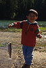 David's first trout, Cave Lake
