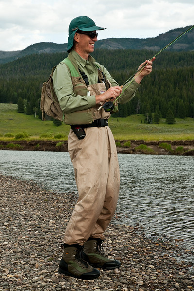 Mike plays a large cutthroat, Slough Creek. The bear spray was not needed this trip