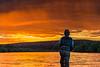 Fiery sunset on the Yuba River