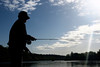 Silhouette of Fly Fisher, Lower Sacramento River, CA