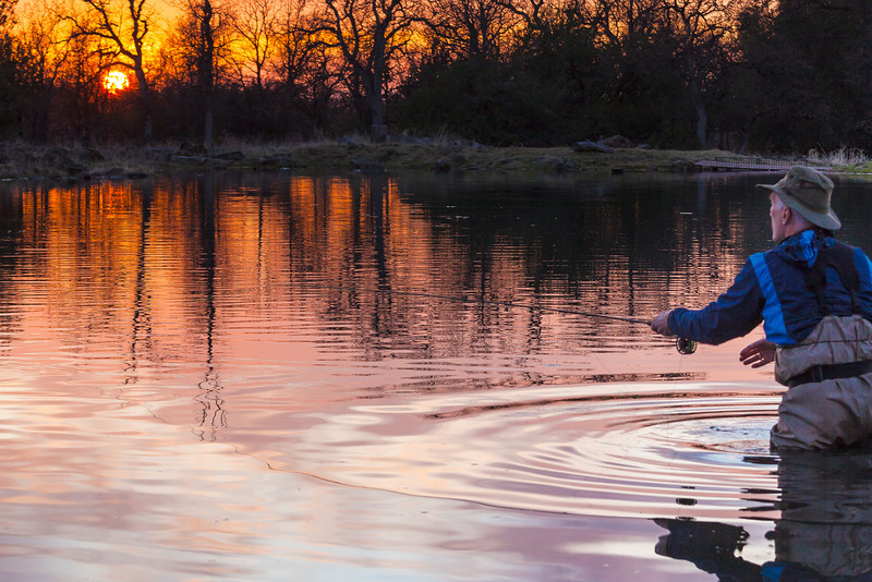 FIshing into a Winter Sunset, Small Pond near Red Bluff CA
