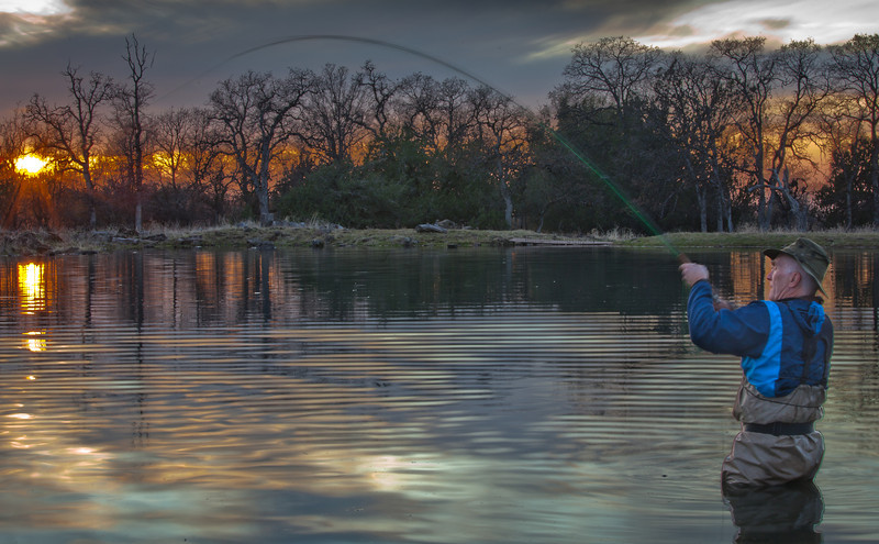 Fish on at Sunset, Small Pond near Red Bluff CA