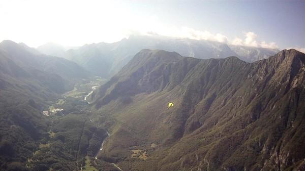 Soca river with Krasji ridge  on the right