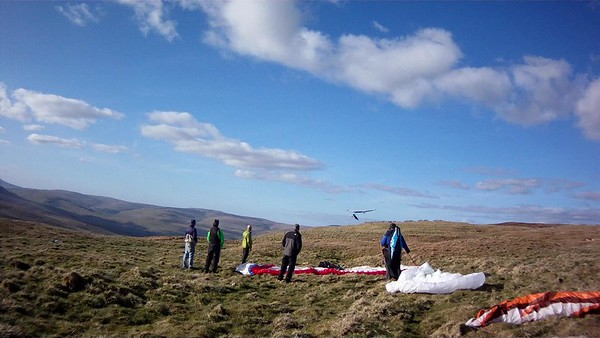 Tony attempting to land his rigid. Mike and Dean just back after their big triangle to Howgills and Keld.