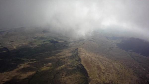 Whernside main ridge below. Ingleborough hidden  by cloud.