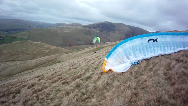Mike REALLY scratching - wind across slope after we pushed forward.