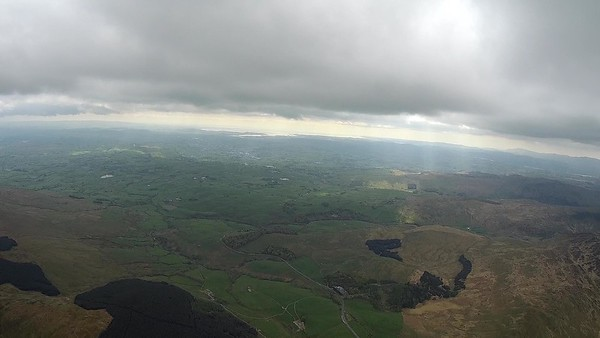 South Lakes ahead ... Grayrigg is near the tarn (middle left). and scene of next weak climb.  Slight hints at convergence.
