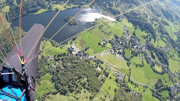 Looking down on the LCC Grasmere base as it starts to fill up on the Friday evening
