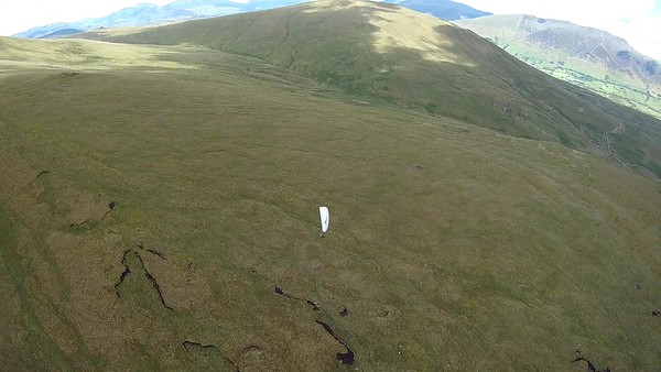 Headed back to main Wolf Crag cliffs and beginning to climb out up the slopes towards Dodd