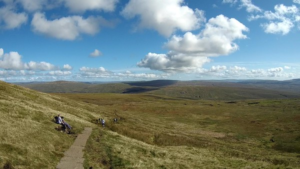 Great views, on a great morning, looking east from the main Whernside path