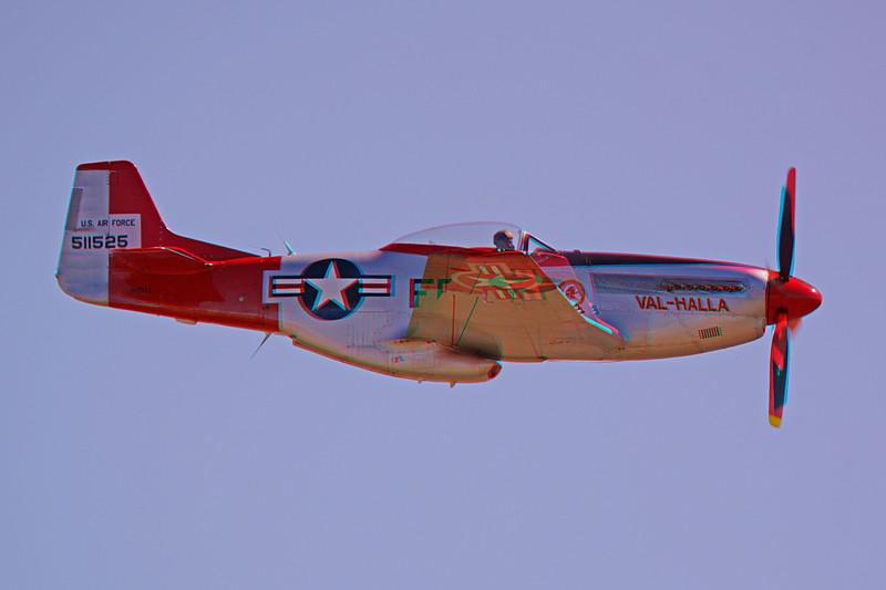 5367 P51D Mustang Val-Halla airshow pass anaglyph