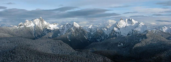 Whitehorse Mountain (left) and Three Fingers Mountain (right).