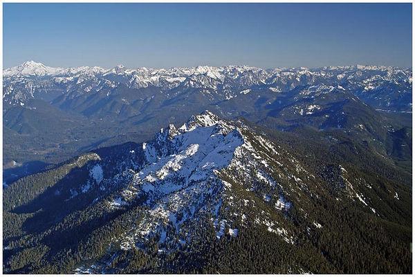 Mount Pilchuck with Glacier Peak on the left horizon.