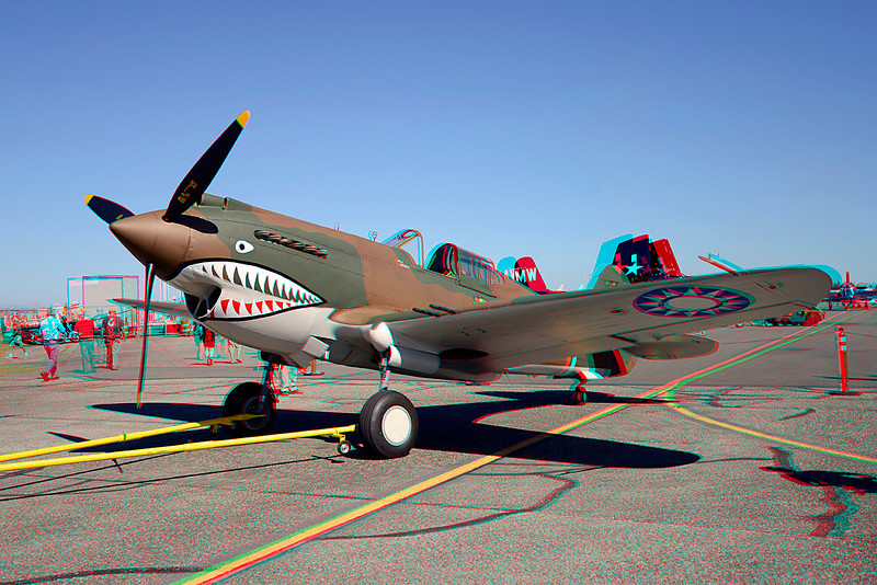 318 Curtiss P40C Tomahawk anaglyph
