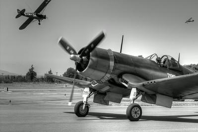 Piper L-4 Grasshopper, Vought F4U-1 Corsair, Fieseler Fi 156 C-2 Stork @ FHC