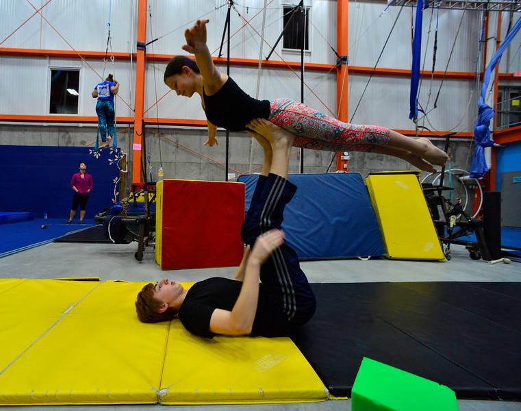 KRISTOPHER RADDER - BRATTLEBORO REFORMER<br /> Sylvi Faldetta and Bradley Zweir practice a partner acrobatic act.