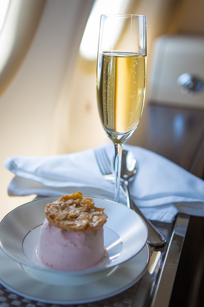 Champagne and ice cream, who can say no? Etihad Airways first class from Abu Dhabi to Istanbul.