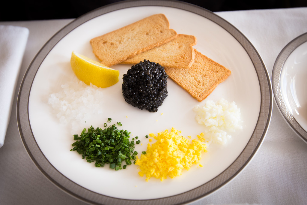 Caviar on Singapore Airlines Suites A380. LAX-SIN