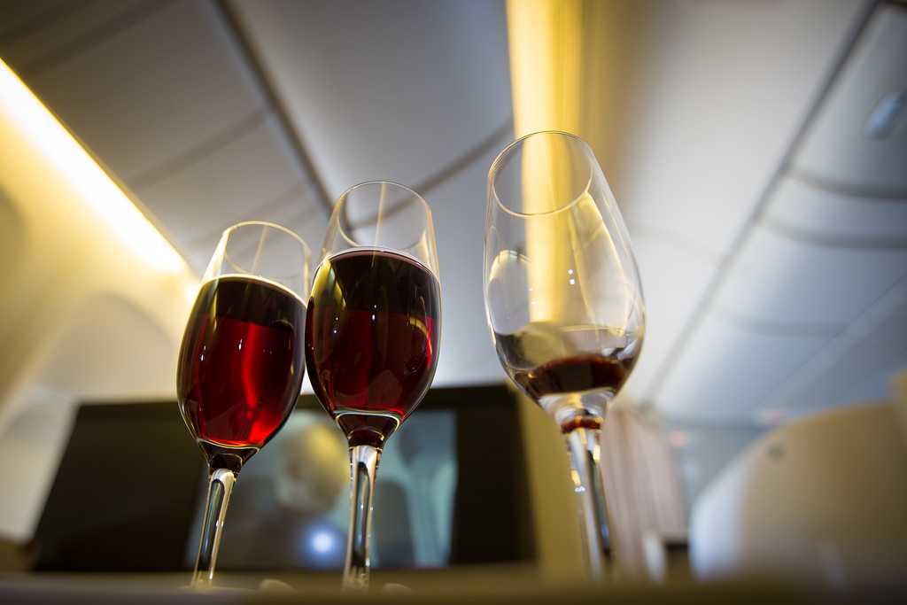 Wine tasting on Japan Airlines first class NRT to ORD