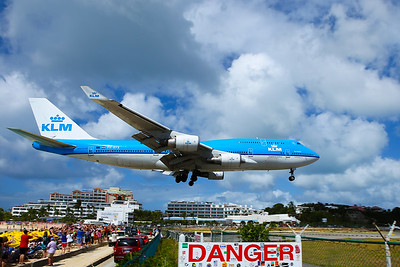 KLM 747-400 landing over Maho beach - St. Martin.  It was a great site watching the queen of the skies land over your head.