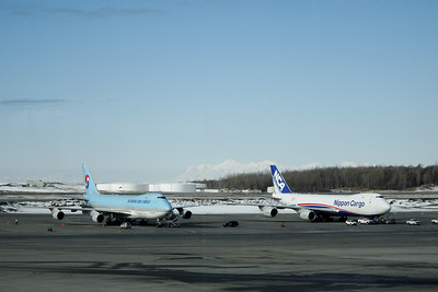 Korean B747-400F, NCA B747-8F, ANC