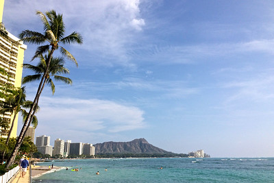 Diamond Head behind Waikiki
