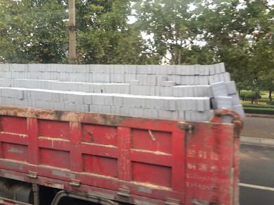Securely loaded bricks...