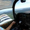 Rebecca flying her Grumman AA-1B Trainer