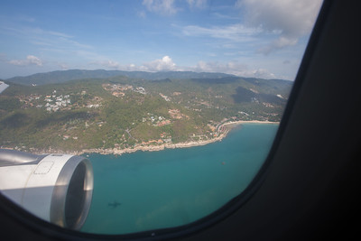 Approaching Koh Samui. Silk Air from Singapore.