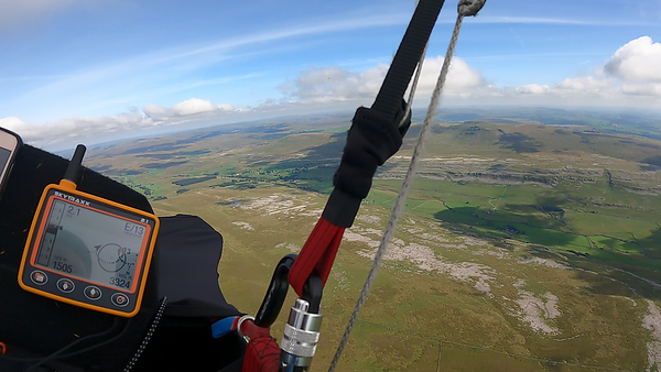 After many short flights, few decent thermals I went over the back at 400' with a thermal I lost immediately. Arrived very low on the pavements beneath Whernside and into a rough beast of a thermal.