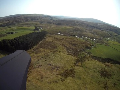 Landing is large and flat, by a good, broad track leading to the Moorcock Inn.