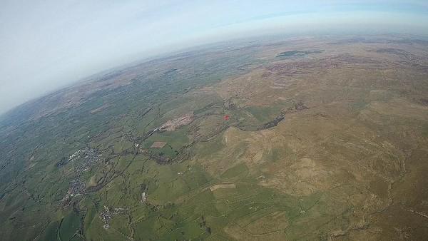 Kev ... red wing. Kirkby Stephen (sinkhole) below left.