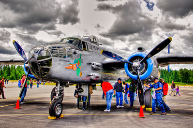 The B-25 Maid in the Shade is the only Arizona Wing plane that has a known combat record. During World War II in late 1944 this aircraft flew out of Serraggia Airbase on the east coast of Corsica. It was with the 57th Bomb Wing, 391st Bomb Group, 437th Squadron where it was assigned Battle Number 18. It flew 15 bombing missions over Italy.