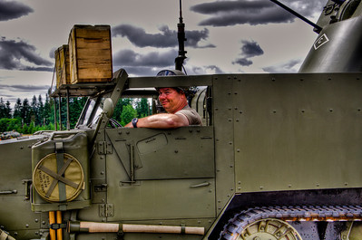 This fellow is the owner of the half track. We spent some time talking to him about this vehicle after he parked it. Good man.