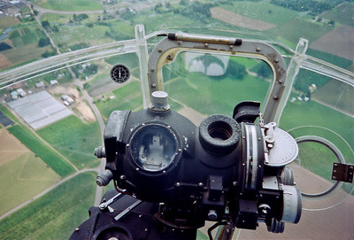 "Bombadier's station with the famous Norden bomb sight, which was reputed to be able to ""drop a bomb into a pickle barrel"" from 10,000 feet."
