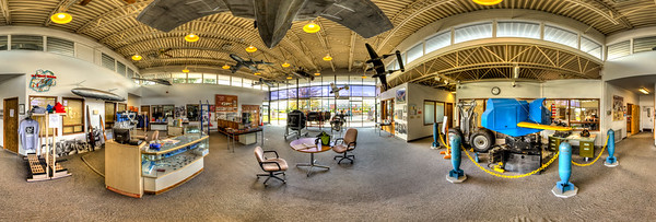 Museum of Flight Restoration Center, Everett, WA. It's all about the world of flight. Model aircraft fly overhead in the entrance lobby.