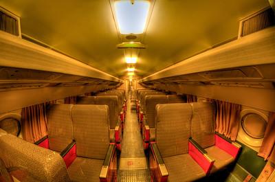 The first class section shot with the fisheye lens