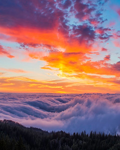 Beautiful Sunset above the Fog