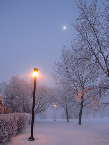 Lamp Light in Fog with Moon