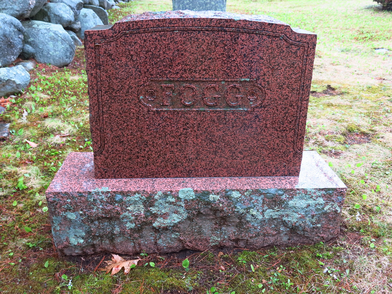 Headstone from one side