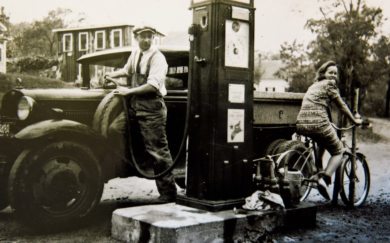 Pumping gas with a bicycle