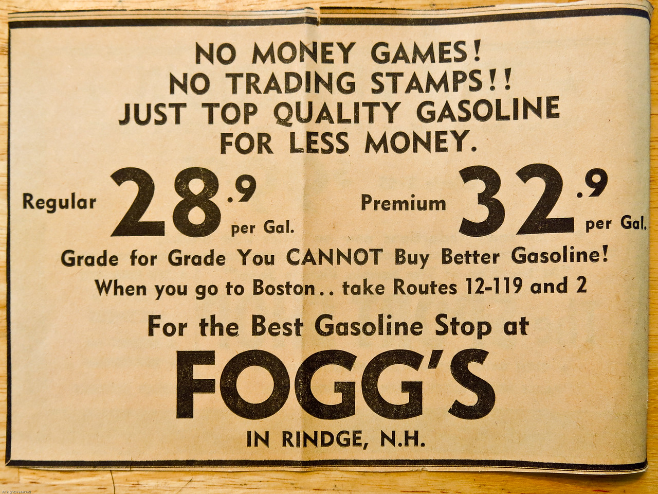 A newspaper advertisement for Fogg's gas station in Rindge