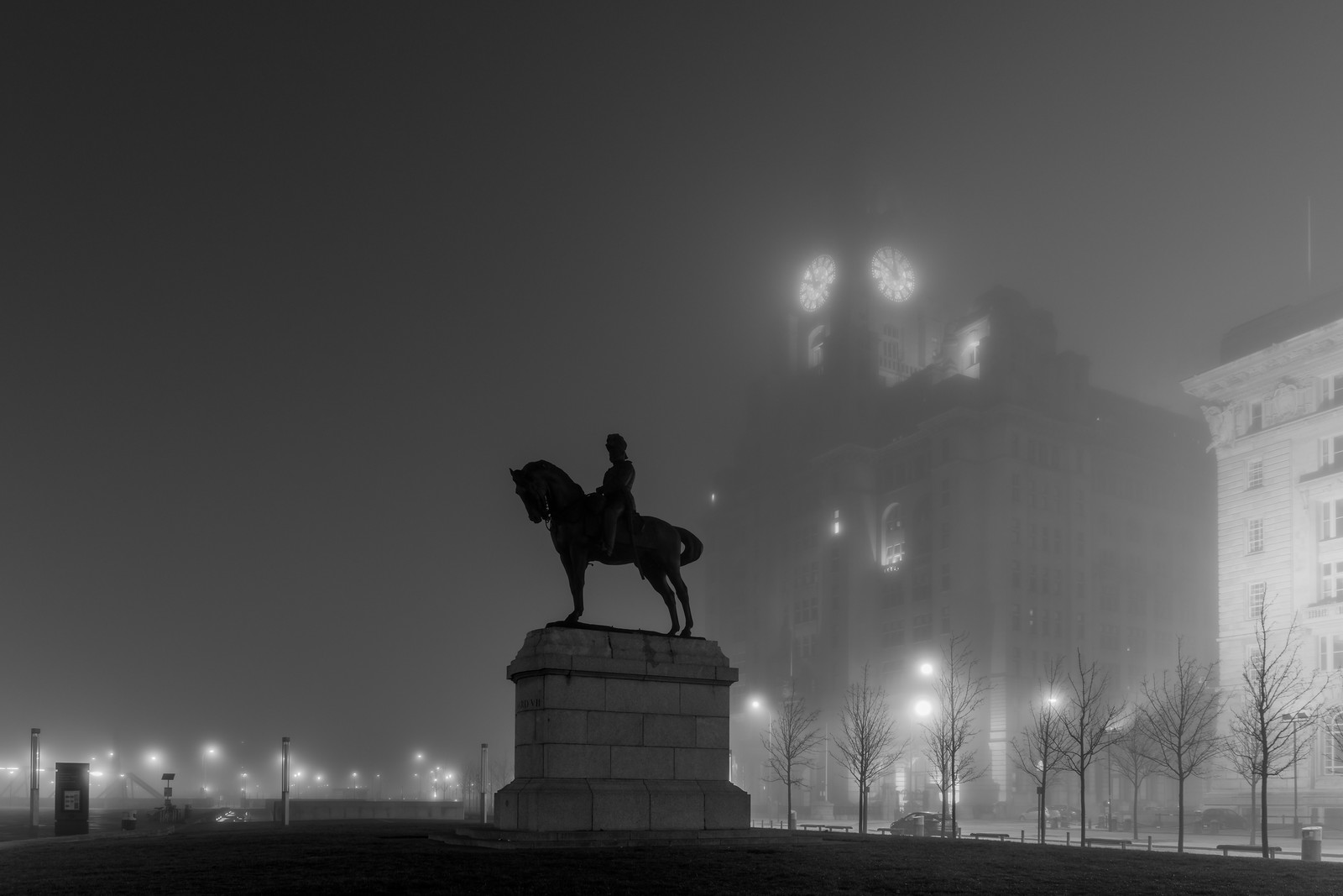 King Edward VII Monument, Pier Head, Liverpool and Royal Liver Building in the fog at night