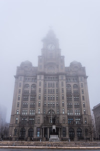 Royal Liver Building, Pier Head, Liverpool in the fog